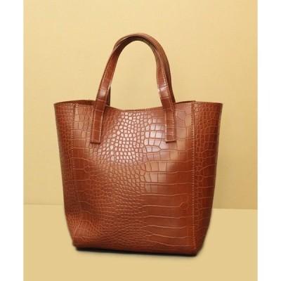 ショルダーバッグ バッグ 【2way】軽量化クロコ調ハンドバッグ/ショルダーバッグ