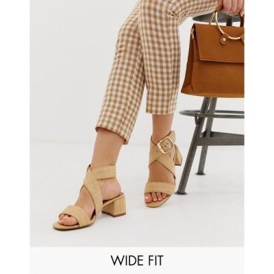 エイソス レディース サンダル シューズ ASOS DESIGN Wide Fit Hip Hop block heeled sandals in natural Natural