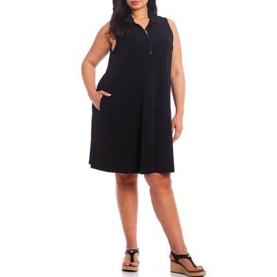 カレンケーン レディース ワンピース トップス Plus Size Zip-Up Sleeveless Dress