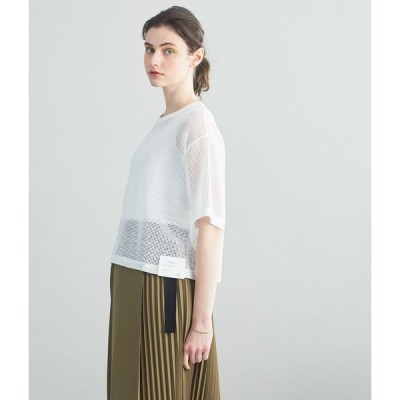 SIPULI オーガニックコットン混メッシュワッフル ワイドTシャツ