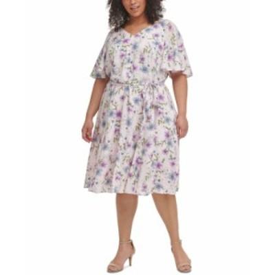 カルバンクライン レディース ワンピース トップス Plus Size Floral-Print Flutter-Sleeve Challis Dress Blossom Multi