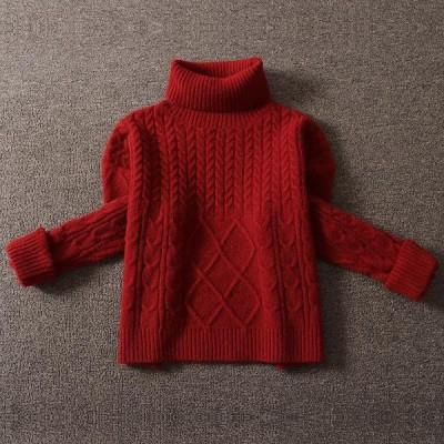 クリスマス~合わせやすい ルーズ ハイネック 縄編み リブ 暖かい セーター トップス
