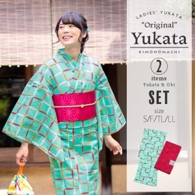 京都きもの町オリジナル 浴衣2点セット「スカイブルー 変わり格子」 浴衣、帯の浴衣2点セット