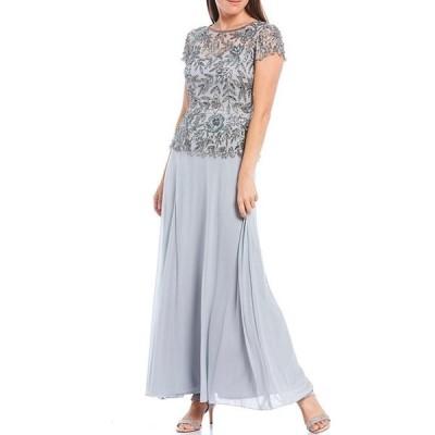 ピサッロナイツ レディース ワンピース トップス Chiffon Beaded Bodice Mock Two-Piece Gown