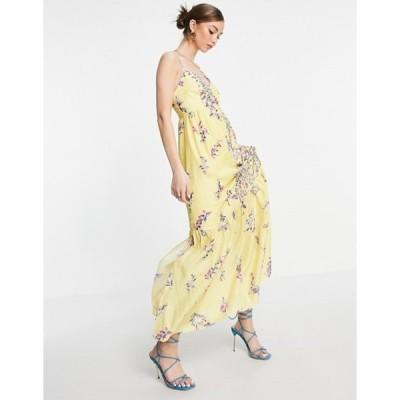 フレンチコネクション レディース ワンピース トップス French Connection Flores sleeveless maxi dress in yellow