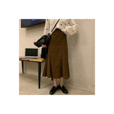 【送料無料】何でも似合う コーデュロイ ミディ丈 フィッシュテイルスカート 初秋 韓国風 ファッ | 364331_A63803-6384335