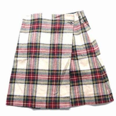 【中古】マーガレットハウエル スカート 巻き ラップタータン チェック ウール ベージュ 赤 緑 1 ボトムス レディース