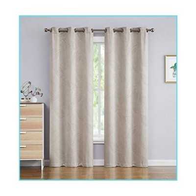 LinenZone - 3D Embossed Room Darkening Thermal Insulated Drapes - Set of 2 Window Curtains with Two Fabric Tiebacks - Total Width 74 inch (2
