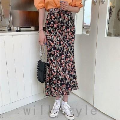 花柄ロングスカート韓国オルチャンきれいめかわいいレトロストリート原宿系ボトムス