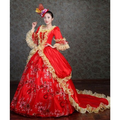 ロングドレス パーティードレス 人気お姫様ドレス 中世 貴族 衣装 公爵夫人 宮廷服ドレス 舞台ステージ衣装 お姫様ドレス カラードレス 演奏会ドレス