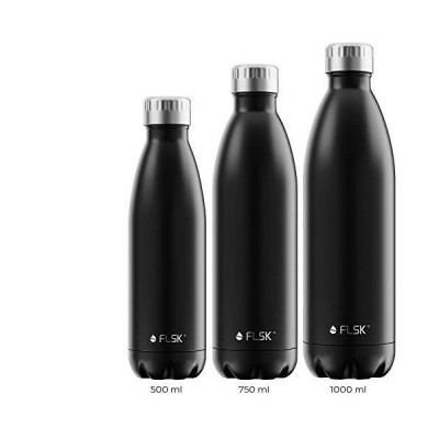 FLSK The Original Drinking Bottle, Thermal Flask, Insulated Bottle Keeps hot for 18 Hours - Cold for 24 Hours (Colour: Black, Size: 750 ml)