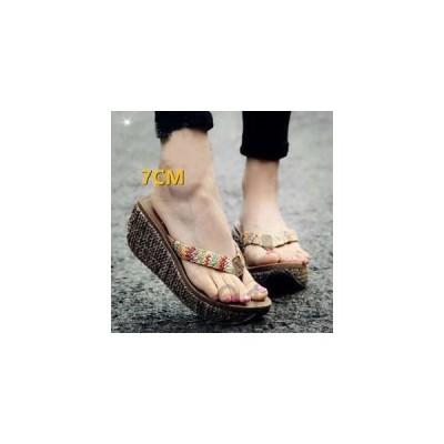 サンダルウェッジヒールレディースウェッジソールファッション厚底サンダル歩きやすい疲れない婦人靴夏物新作
