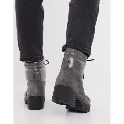 レイド レディース ブーツ&レインブーツ シューズ RAID Acorn chunky hiker boots in gray mix Gray PU / grey suede