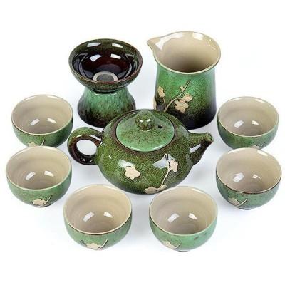 送料無料 茶器セット ティーセット 湯のみ六つ 茶壺 茶道 茶道具 お茶 陶芸 プレゼント 家用 招待 10点(18122102)