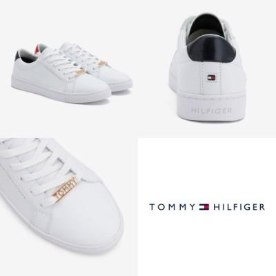 トミーヒルフィガー Tommy Hilfiger トミー レザー ロゴ スニーカー ホワイト シンプル シューズ レディース 取り寄せ