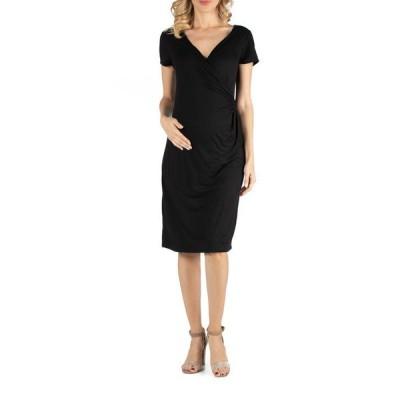24セブンコンフォート レディース ワンピース トップス Faux Wrapover Maternity Dress with Cap Sleeves