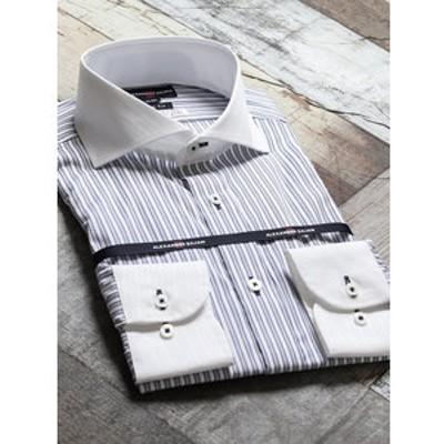 綿100%100双 形態安定スリムフィットカッタウェイ長袖ビジネスドレスシャツ