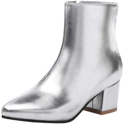 [Kaizi Karzi] 靴 レディース ショートブーツ 大きいサイズ パーティー靴 ヒール サイドジッパー おしゃれ 39AS Silver