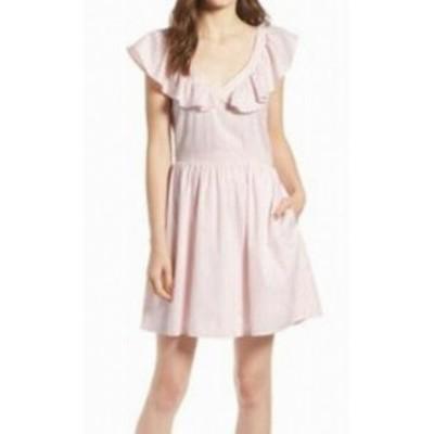 ファッション ドレス Treasure & Bond Womens Striped Pink Ruffled V-NeckLarge L A-Line Dress