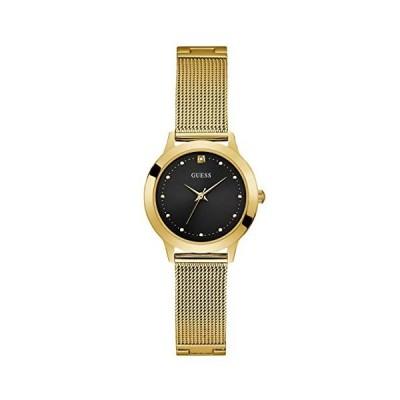 腕時計 ゲス GUESS U1197L5 GUES Gold-Tone Stainless Steel Bracelet Watch with Black Genuine Diamond Dial.