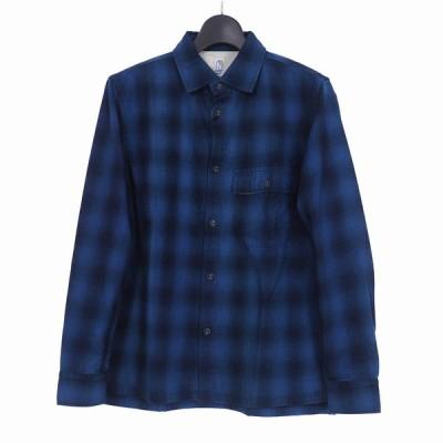 【中古】カトー KATO` フラップポケット チェックシャツ 長袖 L ブルー 青 KS611861 メンズ 【ベクトル 古着】