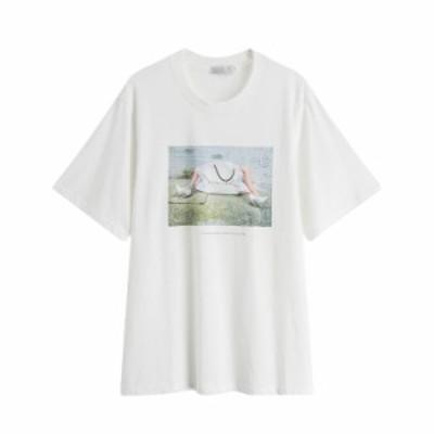 Tシャツ レディース 春新作 ロングTシャツ 半袖トップス  ゆったり プリント 夏 送料無料 トップス  クルーネック オシャレ