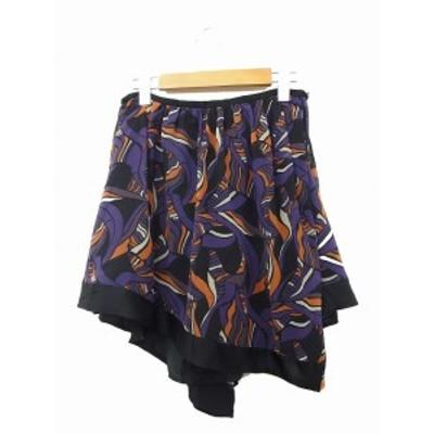 【中古】ドロア DOROA スカート フレア ギャザー アシンメトリー ミニ 総柄 36 パープル 紫 /KT37 レディース