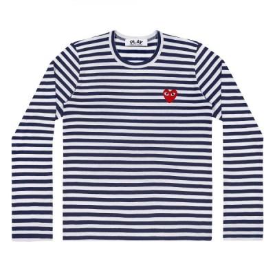 プレイ コム デ ギャルソン 長袖Tシャツ PLAY COMME des GARCONS 赤ハート ボーダー 紺×白