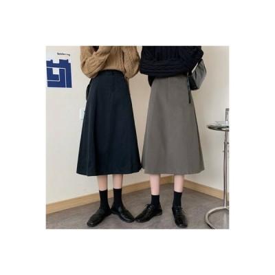 【送料無料】黒の半身裙スカート 秋冬 女 年 ハイウエスト ルース 裾 何でも似合う   364331_A63964-2555157