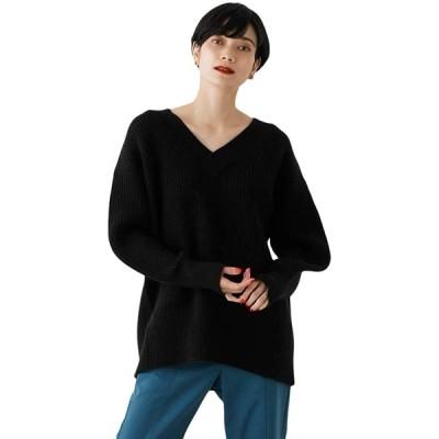[アズールバイマウジー] ニット セーター WIDE RIB V/N KNIT 250DAA70-360I S ブラック レディーズ