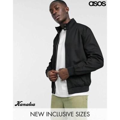 asos エイソス ハリントンジャケット ブルゾン ブラック 大きいサイズあり