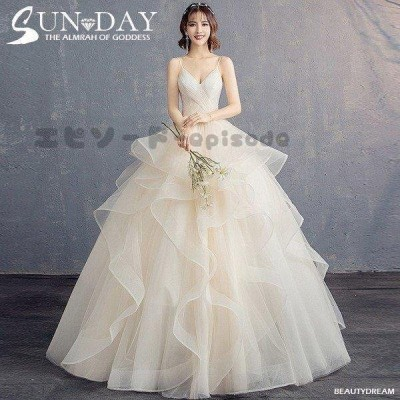 ウェディングドレス白 パーティードレス ホルターネック V襟 花嫁ロングドレス 結婚式  露背 二次会 お呼ばれ 挙式 姫系hs5165