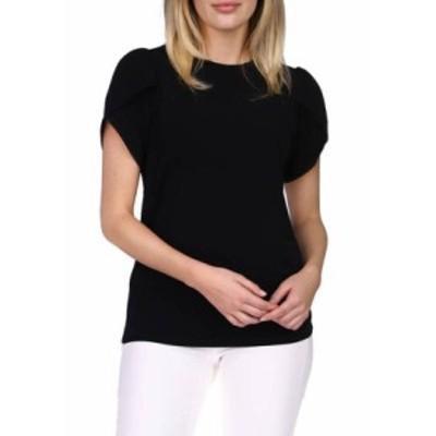 マイケルコース レディース シャツ トップス Women's Solid Petal Sleeve Top Black
