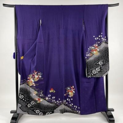 振袖 秀品 花車 菊 絞り 刺繍 紫 袷 159.5cm 67cm M 正絹 中古