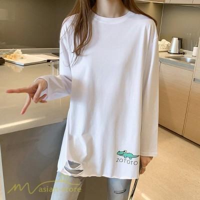 tシャツ Tシャツ 長袖 春 レディース カットソー 着痩せ ロング丈 ワイドTシャツ トップス ダメージ プリント 可愛い 2021新作 着回し インナー 日常感 ゆったり