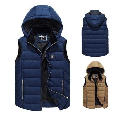 メンズ ダウンベスト 中綿ベスト ノースリーブ 袖なしジャケット アウター フード付き 秋冬 新作