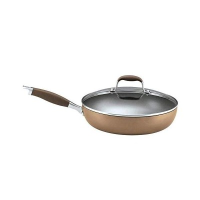 Anolon Advanced Hard-Anodized Nonstick 12-Inch Deep Frying Pan with Glass Lid / Nonstick Skillet, 12 Inch, Bronze