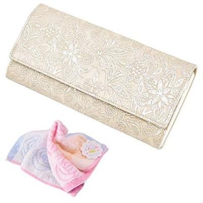 セット品 クレア ギャルソン 束入れ 財布 レディース 1417619 (ベージュ) & バラ柄ハンドタオル
