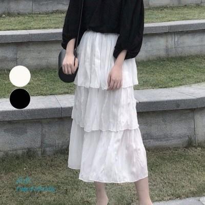 スカート ロング フリルスカート マキシ丈 ボトムス レディース ロングスカート