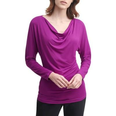 ダナキャラン レディース シャツ トップス Women's Matte Jersey Long Sleeve Cowl Neck Top