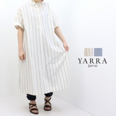 SALE セール/ヤラ YARRA ワッシャーストライプ衿付きワンピース YR-202-092 日本製 ひざ下丈 半袖◎◎  /返品・交換不可