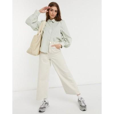 モンキ レディース シャツ トップス Monki Phrida organic cotton puff sleeve shirt in green stripe