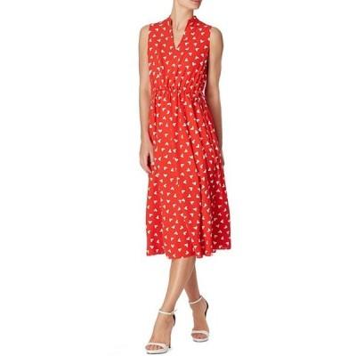 アンクライン レディース ワンピース トップス Sleeveless Drawstring Printed Midi Dress