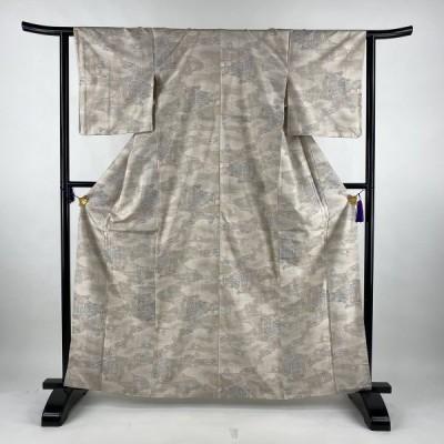 紬 美品 名品 祭風景 ベージュ 袷 身丈165.5cm 裄丈63cm S 正絹 中古