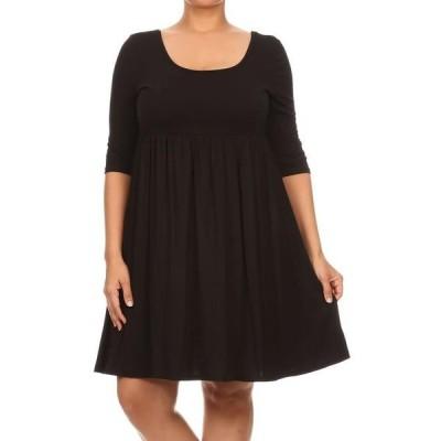 レディース 衣類 トップス MOA COLLECTION Women's Plus Size Solid 3/4 Sleeve Relax Fit Jersey Knit Tunic Top Dress/Made in USA