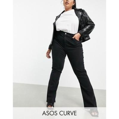 エイソス レディース デニムパンツ ボトムス ASOS DESIGN Curve high rise '70's' stretch flare jeans in washed black