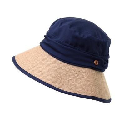 帽子 ハット 綿麻生地切り返しナチュラルつば広UVキャペリンハット
