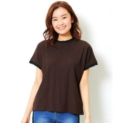【大きいサイズ】 フリルプチハイネックリブTシャツ plus size T-shirts, テレワーク, 在宅, リモート