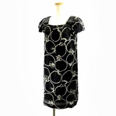 【中古】エムズグレイシー M'S GRACY ドレス パフスリーブワンピース リボンプリント 黒 ブラック 38 M IBO3 レディース