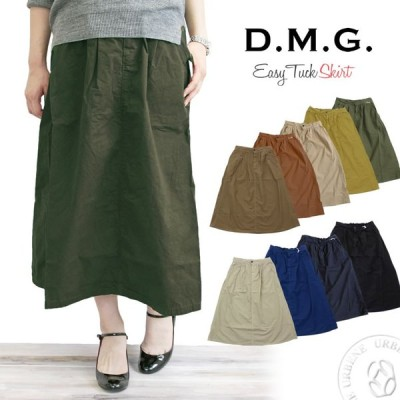 ドミンゴ スカート DMG D.M.G 高密度ウェザー ロング タック イージー スカート Aライン パンツ 膝下丈 ひざ下丈 レディース おしゃれ